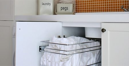 Concealed and Organised Laundry Basket Storage | TANSEL Pull Out Storage